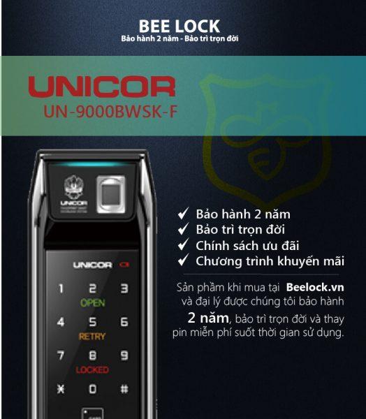 khóa vân tay điện tử Unicor UN-9000BWSK-F