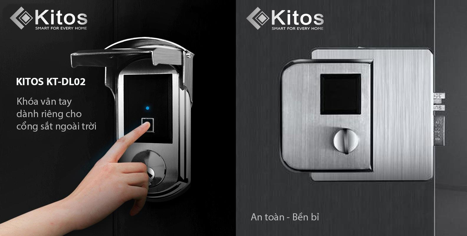 Khóa vân tay cửa cổng ngoài trời Kitos KT-DL02