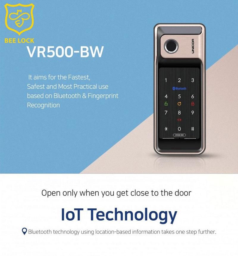 Khóa cửa vân tay cửa nhôm Unicor VR500 – BW