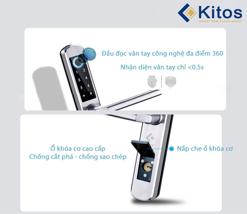Khóa vân tay cửa nhôm Kitos KT-AL450